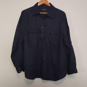 I.N.C. Navy Linen Blue Button Down Shirt